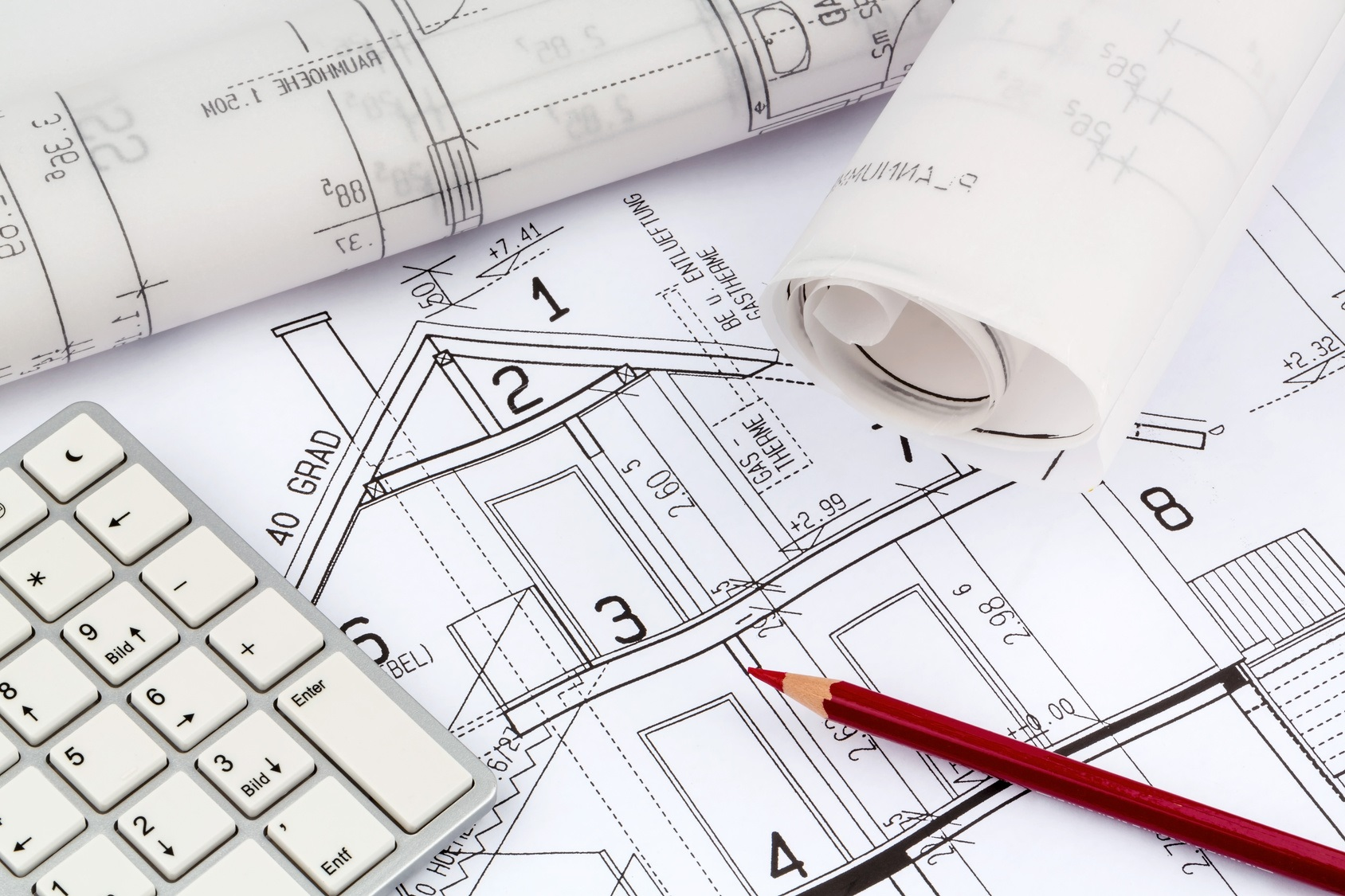 an architect's blueprint for the construction of a new residential house. symbolic photo for funding and planning of a new house.